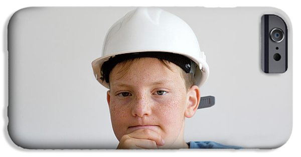 Boy Wearing Hard Hat IPhone Case by Gombert, Sigrid