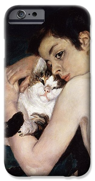 Boy With A Cat IPhone Case by Pierre-Auguste Renoir