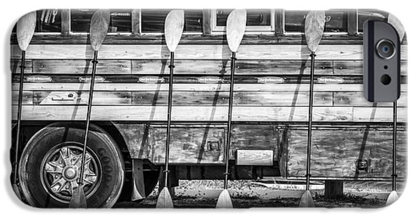 Bright Colored Paddles And Vintage Woodie Surf Bus - Florida - Black And White IPhone Case by Ian Monk