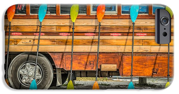 Bright Colored Paddles And Vintage Woodie Surf Bus - Florida IPhone Case by Ian Monk