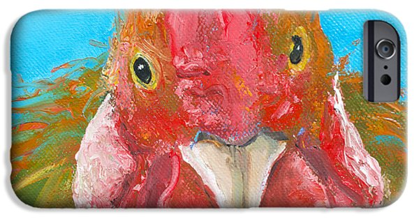 Brown Rooster On Blue IPhone 6s Case by Jan Matson
