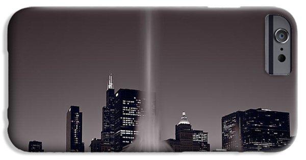 Buckingham Fountain Nightlight Chicago Bw IPhone Case by Steve Gadomski