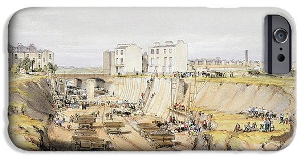 Building The Retaining Wall Near Park IPhone Case by John Cooke Bourne