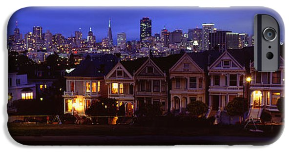 Buildings Lit Up Dusk, Alamo Square IPhone Case by Panoramic Images