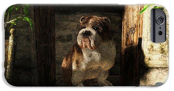 Bulldog In A Doorway IPhone Case by Daniel Eskridge