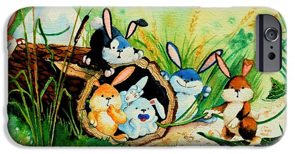 Bunnies Log And Frog IPhone 6s Case by Hanne Lore Koehler