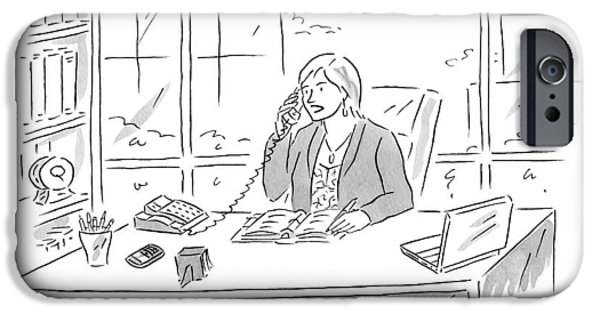 Businesswoman At Her Desk On The Telephone IPhone Case by Kim Warp