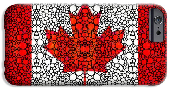 Canadian Flag - Canada Stone Rock'd Art By Sharon Cummings IPhone Case by Sharon Cummings