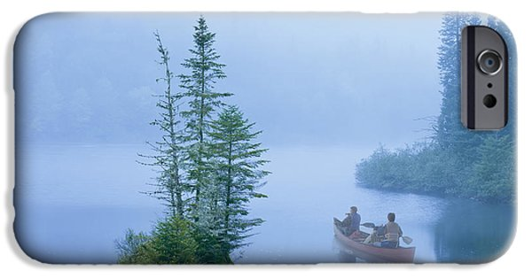 Canoe In The Mist On Jacques-cartier IPhone Case by Yves Marcoux