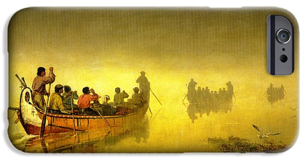 Canoes In A Fog On Lake Superior IPhone Case by Frances Anne Hopkins