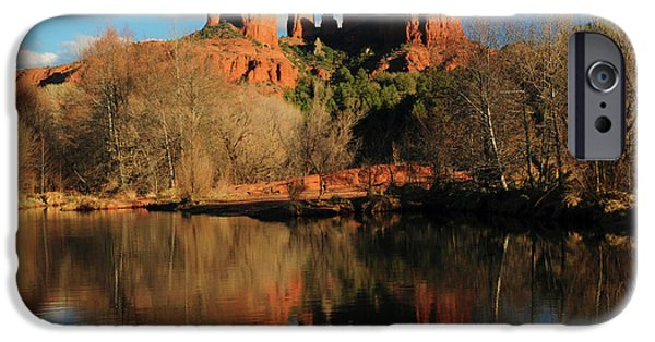 Cathedral Rock Reflections At Sunset IPhone Case by Michel Hersen