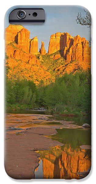 Cathedral Rocks Reflect Into Oak Creek IPhone Case by Chuck Haney