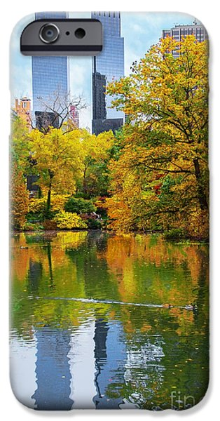 Central Park Pond Autumn Reflections IPhone 6s Case by Regina Geoghan