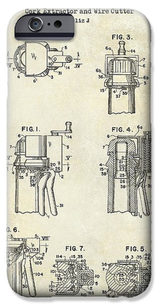 Champagne  Cork Extractor And Wire Cutter Patent Drawing IPhone Case by Jon Neidert