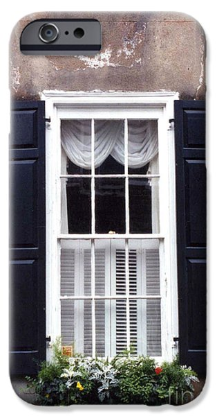 Charleston French Quarter Window Flower Box - Charleston Architecture Black And White Window Box IPhone Case by Kathy Fornal