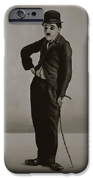 Charlie Chaplin Painting IPhone Case by Paul Meijering