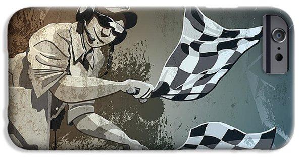 Checkered Flag Grunge Monochrome IPhone Case by Frank Ramspott