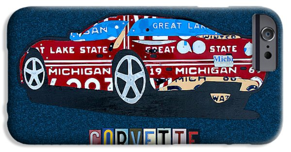 Chevrolet Corvette Recycled Michigan License Plate Art IPhone Case by Design Turnpike