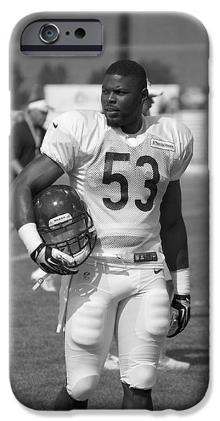 Chicago Bears Lb Jerry Franklin Training Camp 2014 Bw IPhone Case by Thomas Woolworth