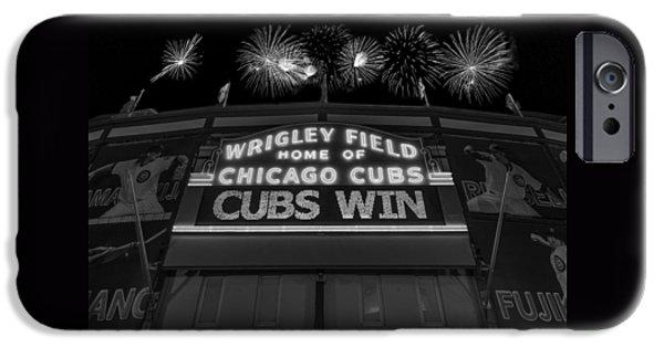 Chicago Cubs Win Fireworks Night B W IPhone 6s Case by Steve Gadomski
