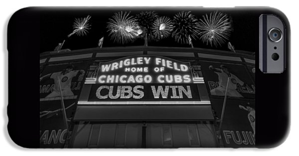 Chicago Cubs Win Fireworks Night B W IPhone Case by Steve Gadomski