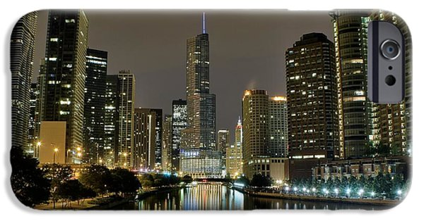 Chicago Night River View IPhone Case by Frozen in Time Fine Art Photography