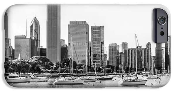 Chicago Skyline Panorama Photo At Monroe Harbor IPhone Case by Paul Velgos