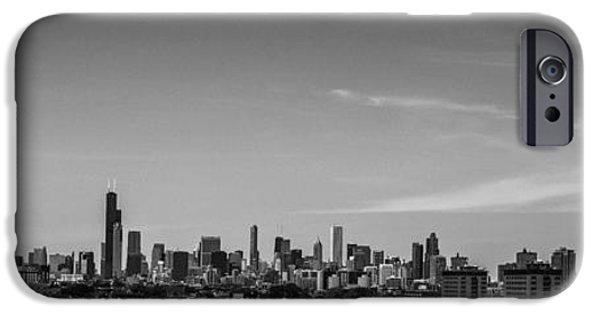 Chicago Skyline Panoramic Black And White IPhone Case by David Haskett