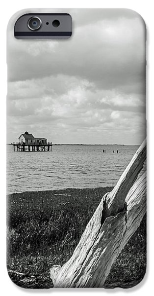 Chincoteague Oystershack Bw Vertical IPhone Case by Photographic Arts And Design Studio