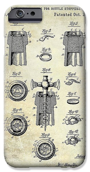 Champagne Retaining Device Patent Drawing 1889 IPhone Case by Jon Neidert