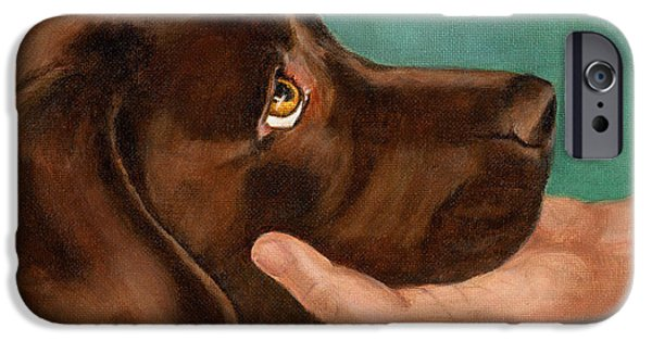 Chocolate Lab Head In Hand IPhone Case by Amy Reges