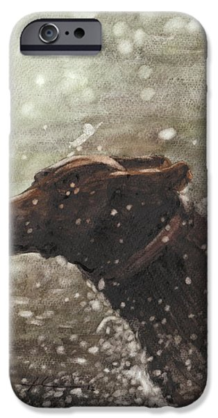 Chocolate Lab In Water Watercolor Portrait IPhone Case by Mike Theuer