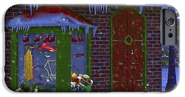 Christmas Window Shopping IPhone Case by Ken Morris