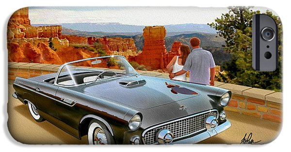 Classic 1955 Thunderbird At Bryce Canyon Black  IPhone Case by John Samsen