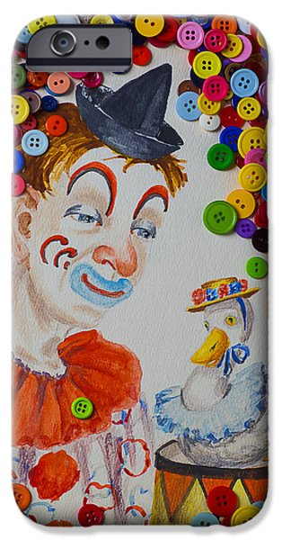 Clown And Duck With Buttons IPhone Case by Garry Gay
