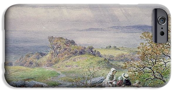 Coast Scene With Children In The Foreground, 19th Century IPhone Case by William Collins