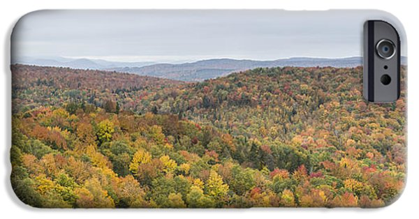 Nichols Pond Cabot Vermont Autumn Panorama IPhone Case by Andy Gimino