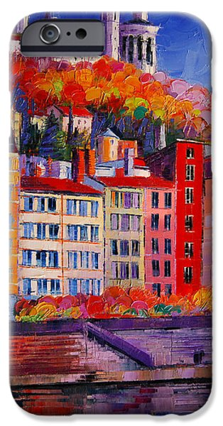 Colorful Facades On The Banks Of Saone - Lyon France IPhone Case by Mona Edulesco