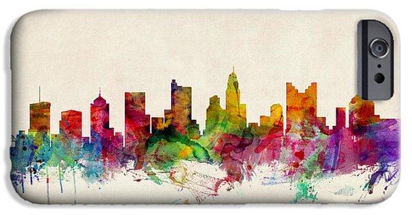 Columbus Ohio Skyline IPhone Case by Michael Tompsett