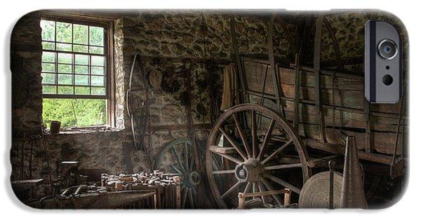 Conestoga Wagon At The Blacksmith - Wagon Repair IPhone Case by Gary Heller