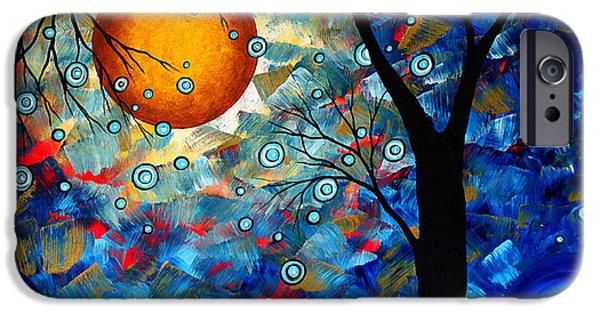 Contemporary Modern Art Original Abstract Landscape Painting Blue Essence By Megan Duncanson IPhone Case by Megan Duncanson