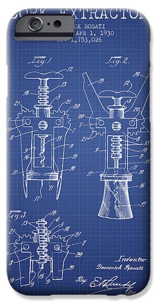 Cork Extractor Patent From 1930- Blueprint IPhone Case by Aged Pixel