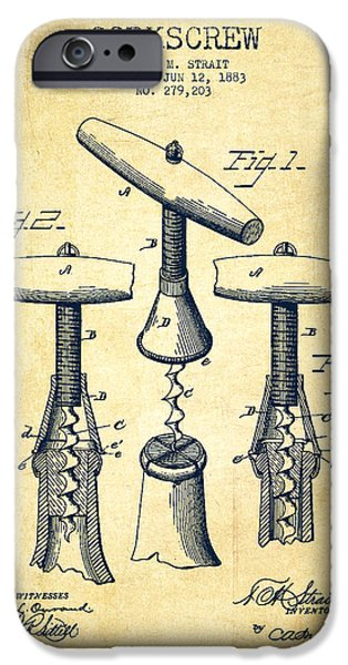 Corkscrew Patent Drawing From 1883 - Vintage IPhone Case by Aged Pixel
