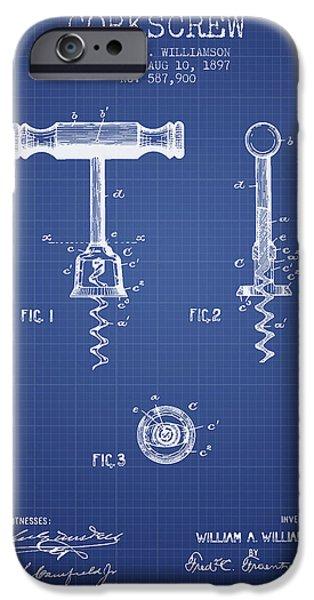 Corkscrew Patent From 1897 Blueprint IPhone Case by Aged Pixel