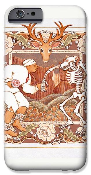 Corrido Del Venado Y Coyote En La Frontera IPhone Case by Ruth Hooper