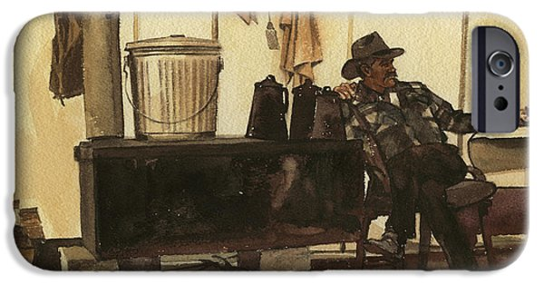 Cowboy In Tent By Stove IPhone Case by Don  Langeneckert