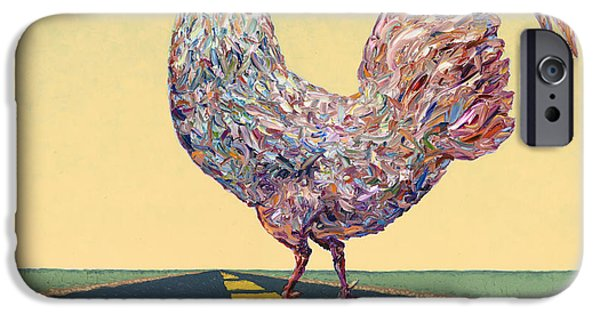 Crossing Chicken IPhone Case by James W Johnson