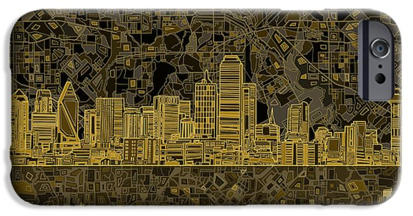 Dallas Skyline Abstract 3 IPhone Case by Bekim Art
