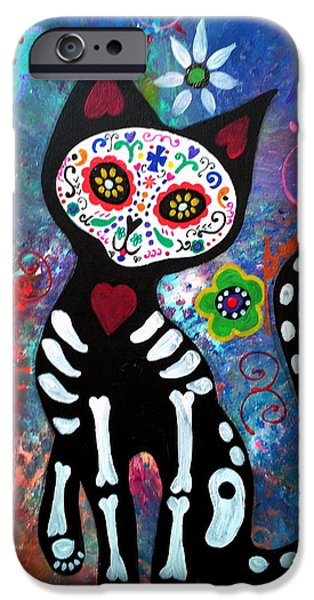 Day Of The Dead Cat IPhone Case by Pristine Cartera Turkus