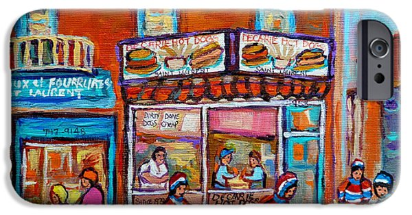Decarie Hot Dog Restaurant Ville St. Laurent Montreal  IPhone Case by Carole Spandau